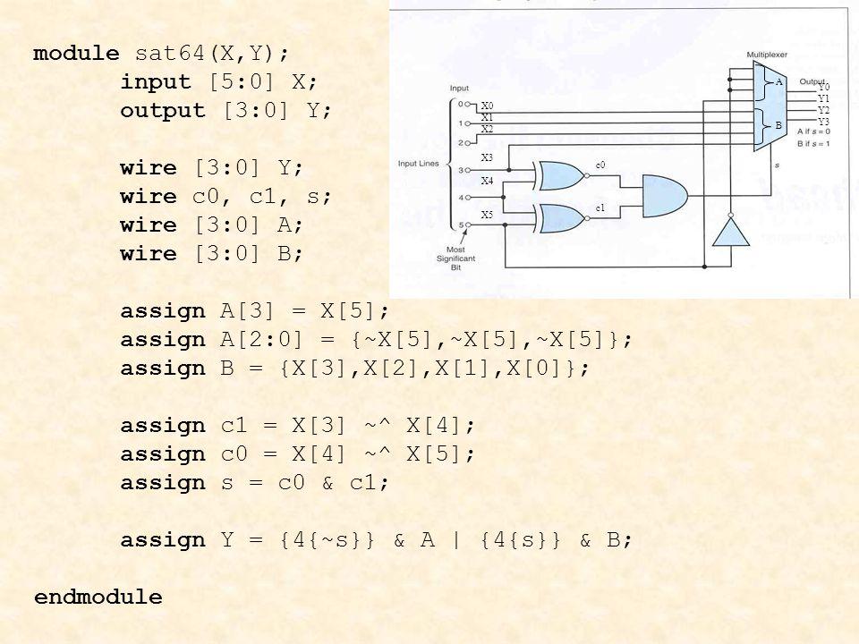 assign A[2:0] = {~X[5],~X[5],~X[5]}; assign B = {X[3],X[2],X[1],X[0]};